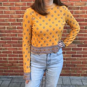 Free People Patterned Gold New Age Cropped Sweater